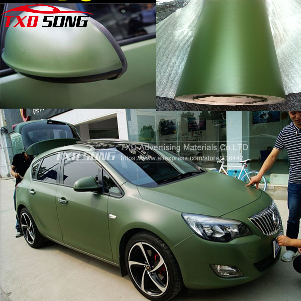 1.52*15m/Roll Premium Quality Matt Army Green Car Vinyl Sticker Matte Army Green Wrap Vinyl Film With Air Free Bubbles Free Ship
