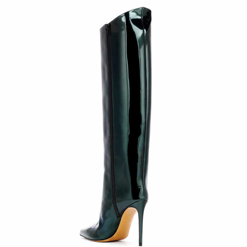 ec6796cf019 COCOAFOAL Women's Cowboy Boots Knee High Boots Woman Shoes Sexy Mid-Calf  Cowboy Boots Pointed Toe Straight Boots Red Green