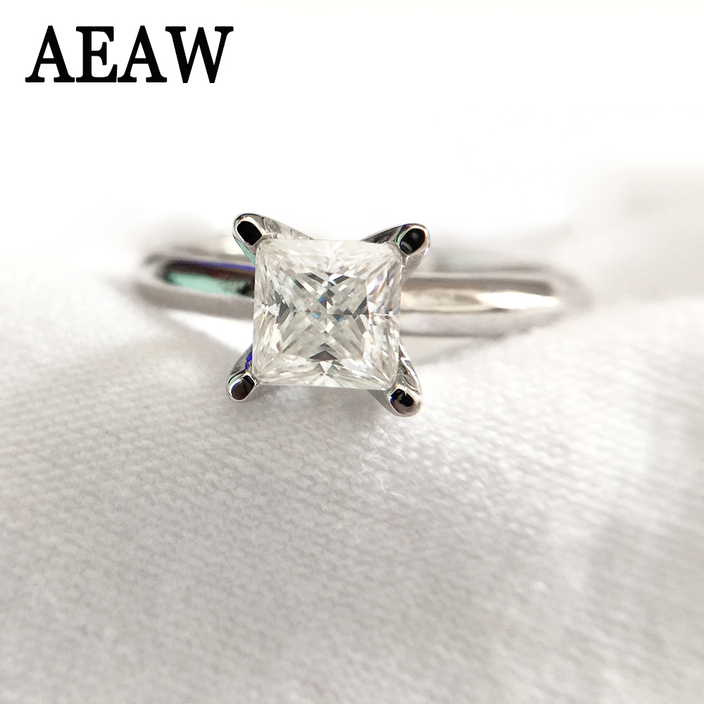 1 Carat 5 5mm Pure 14k 585 White Gold Princess Cut Certified Moissanite Engagement Ring Solitaire