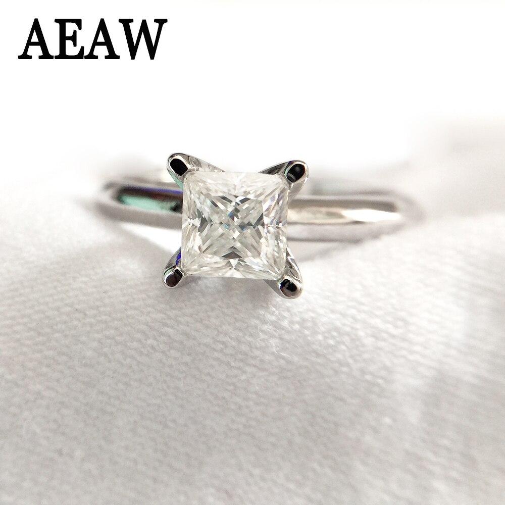 648f16cd9420 1 quilates 5,5mm puro 14 k 585 oro blanco princesa corte certificado  Moissanite anillo de compromiso ...