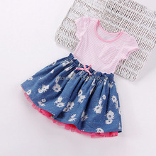 &E-babe&Wholesale 2015 NEW Brand Baby Toddlers Girls Summer Striped Printed Princess Pink Lovely Dress 10 Pcs Lot Free Shipping