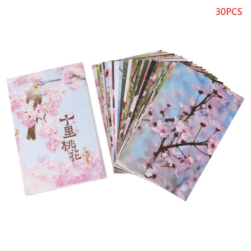 30 Sheets Peach Blossom Paintings Retro Vintage Postcard Christmas New Year Gift Card Wish Poster Cards Gifts C26