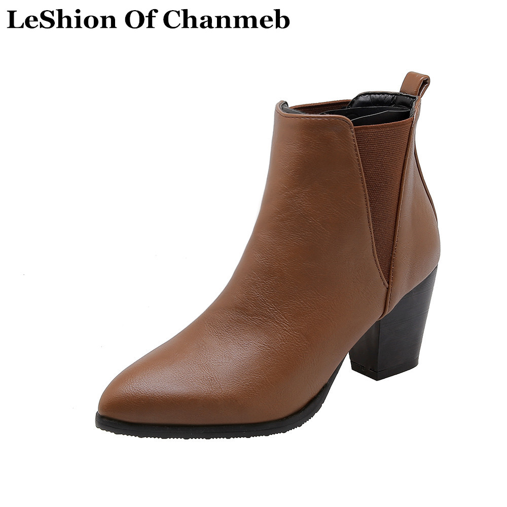 Chelsea-Boots Woman Shoes High-Heels Autumn Soft Big-Size Women Ladies Thick New PU Ankle