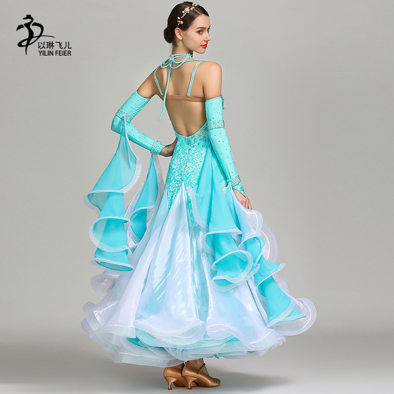2019New Ballroom Dance Competition Dress Women Waltz  Dress Standard Modern Dance Performance Costumes(China)