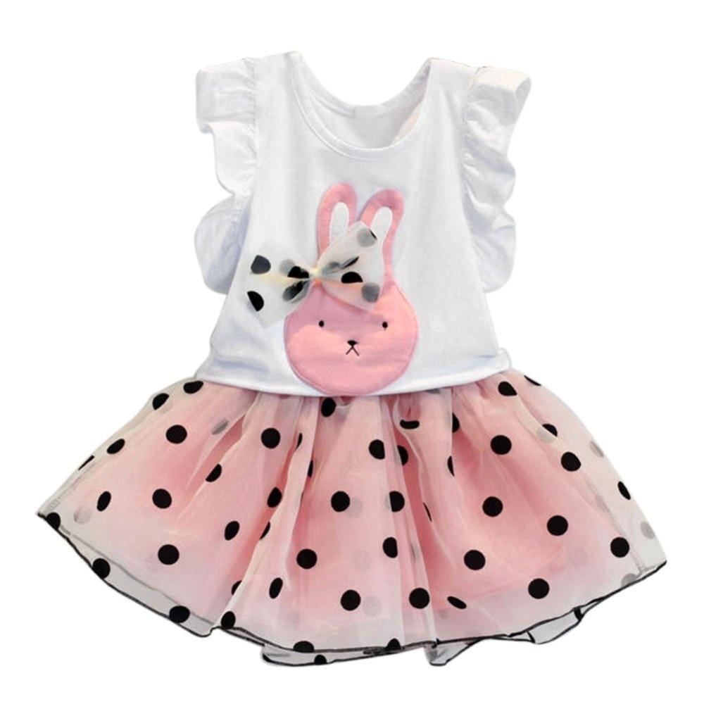 1e717e9b5 طفل طفلة ملابس الأرنب لطفا t-shirt أعلى + البولكا نقطة تنورة الزي مجموعة