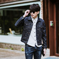 2017 fashion men's cotton denim Jackets man jean jacket coat slim fit dark blue jeans jackets
