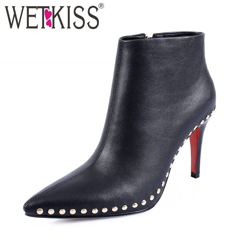 WETKISS New Arrival Genuine Leather Boots Women Shoes Handmade Rivet Boots Ankle Zipper Pointed toe High