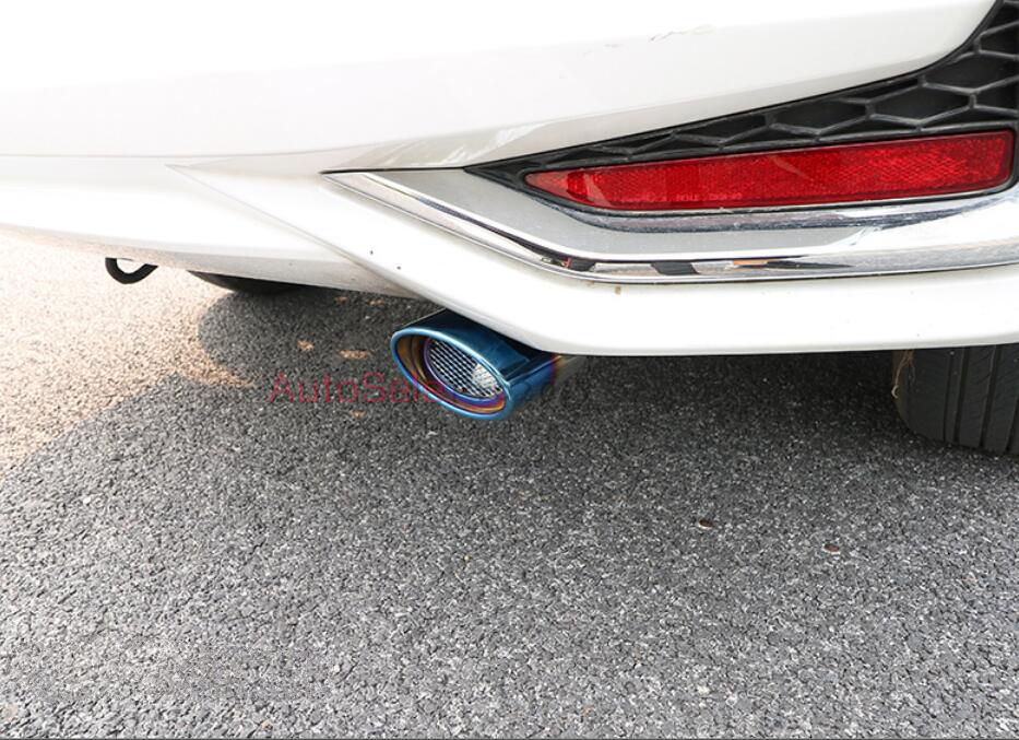 For <font><b>Honda</b></font> <font><b>City</b></font> 2014 2015 2016 stainless steel Color Blue Rear Exhaust Muffler End Tip Tail Pipes Outlet 1pcs image