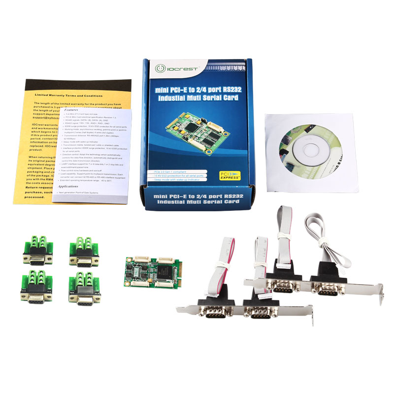 High Speed Mini PCI-Express Turn 4 Ports RS422 RS485 Industrial Serial Port Card mini pci express to 4 ports rs422 rs485 controller industrial serial adapter db9 pin com port expansion card
