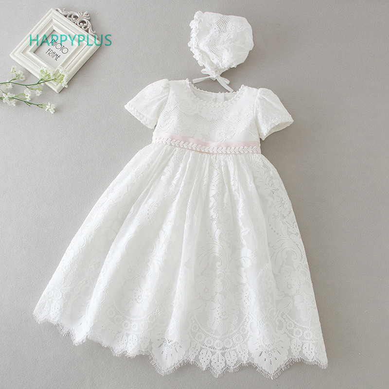 HAPPYPLUS Beige Infant Dress For Christening Girls Maxi Baby Girl Lace Dresses Baptism Baby Clothes Birthday Christmas Outfits