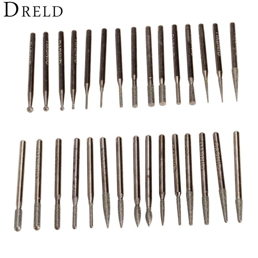 30Pcs Dremel Accessories Diamond Grinding Head Burrs Bit Set for Mini Drill Rotary Tool Polishing Grinding Accessories 3mm Shank