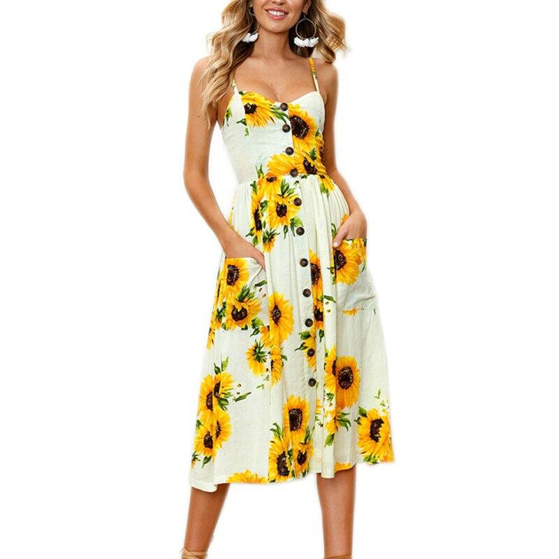 Floral button sexy casual summer strap dress Long boho beach pockets women sundress vestidos Elegant daily dess female