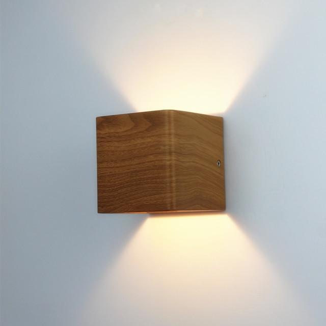 Wood Grain Led Wall Lamp 100 240v Aluminum Up Down Light Bedroom Living Room Lights New Design Warm White