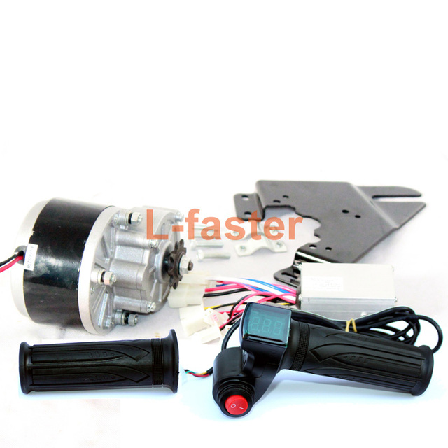 250w Electric Brush Motor With Controller And Accelerator Handle Bicycle Throttle Battery Indicator Red Switch