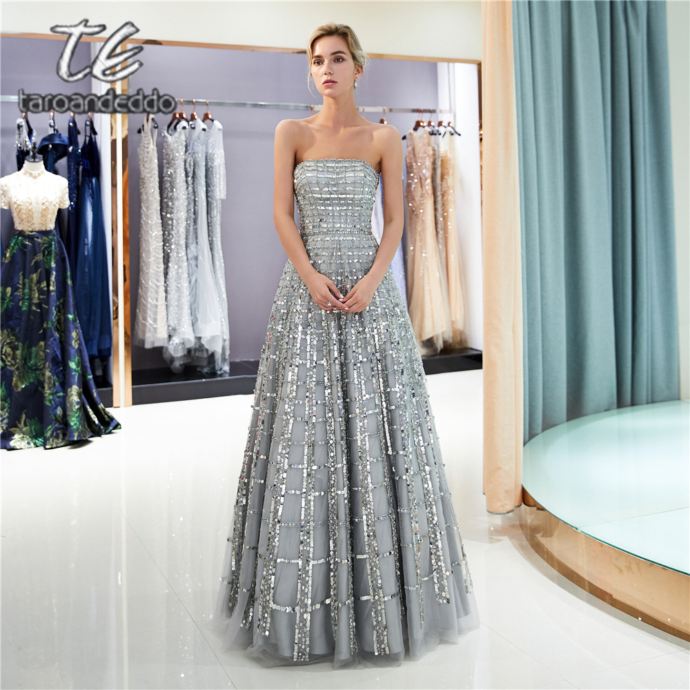 Strapless A Line Tulle   Prom     Dresses   Sleeveless Grey Zipper Open Back Long Evening Formal Party   Dress   with Crystals