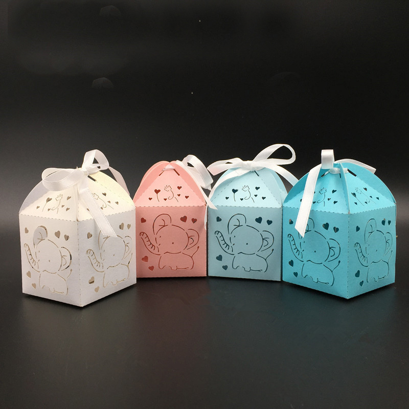 10pcs Laser Cut Elephant Hollow Carriage Favors Box Gifts Candy Boxes With Ribbon Baby Shower Wedding Birthday Party Supplies