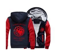 Targaryen Fire & Blood Print Hoodies Men 2018 Hot Sale Winter Thick Sweatshirts Zipped Hoodie Game of Thrones Hip Hop Hoody Men