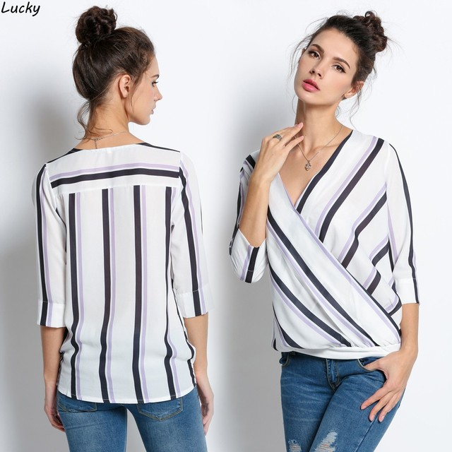84fc7ff99a370 Fashion Women spring summer shirt casual Crossover Deep V-Neck 3 4 Sleeve  Striped Blouse Tops high quality w~