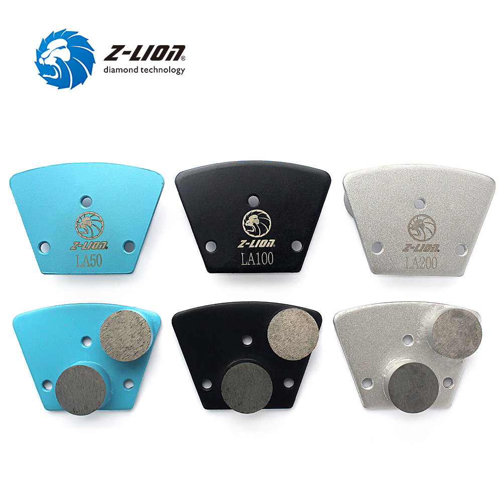 Z-LION 3pcs Metal Trapezoid Diamond Floor Grinding Discs 2 Diamond Bar Grinding Heads Pl ...