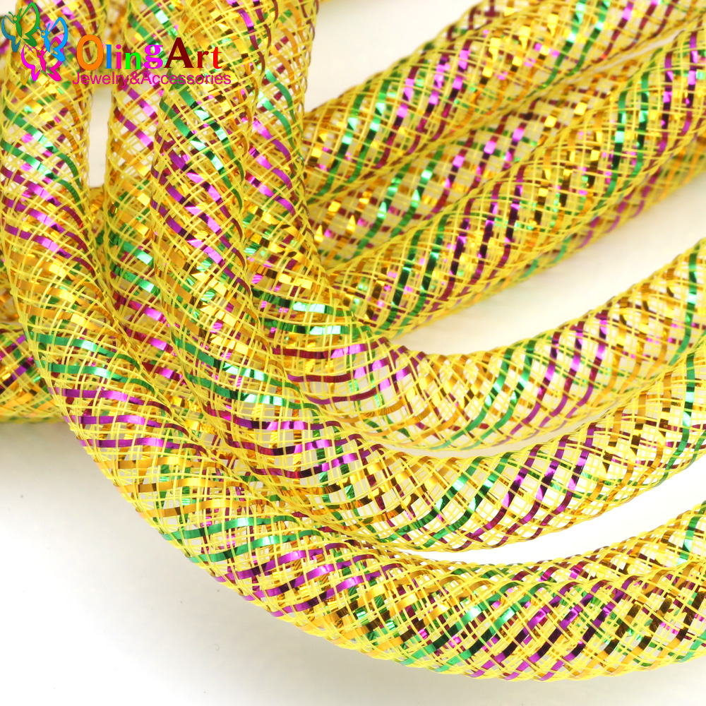 OlingArt 8mm 5M/lot Multicolored Lines Mesh Bracelet Jewelry DIY Fitting With Crystal Stones Filled Necklace  NEW