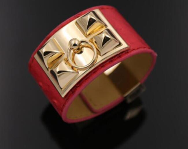 16-19 cm nouveau bracelet de couple féminin en cuir de grain d'autruche