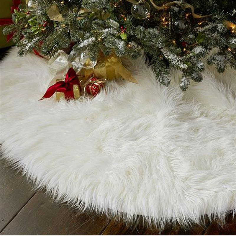 New Year Home Outdoor Decor Event Party Tree Skirts Creative White Plush Christmas Tree Skirts Fur Carpet Xmas Decoration