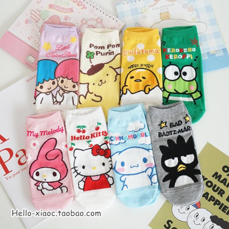 1pair Cartoon Gudetama Egg Cinnamoroll Little Twin Stars My Melody Pudding Dog Cotton Summer Socks For Girls Gifts