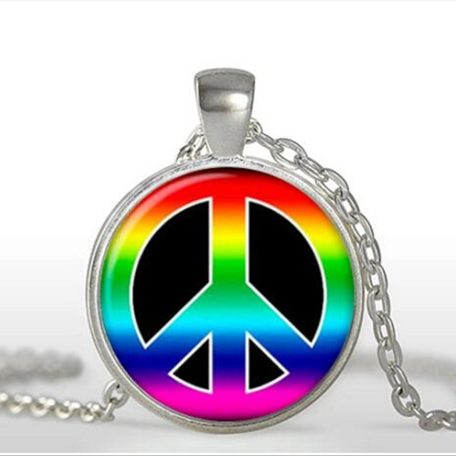 Moda 2017 gran oferta collar Hippie signo colgante de paz joyería Hippie cristal cabujón collar arte regalo para Mujeres Hombres A-124 HZ1