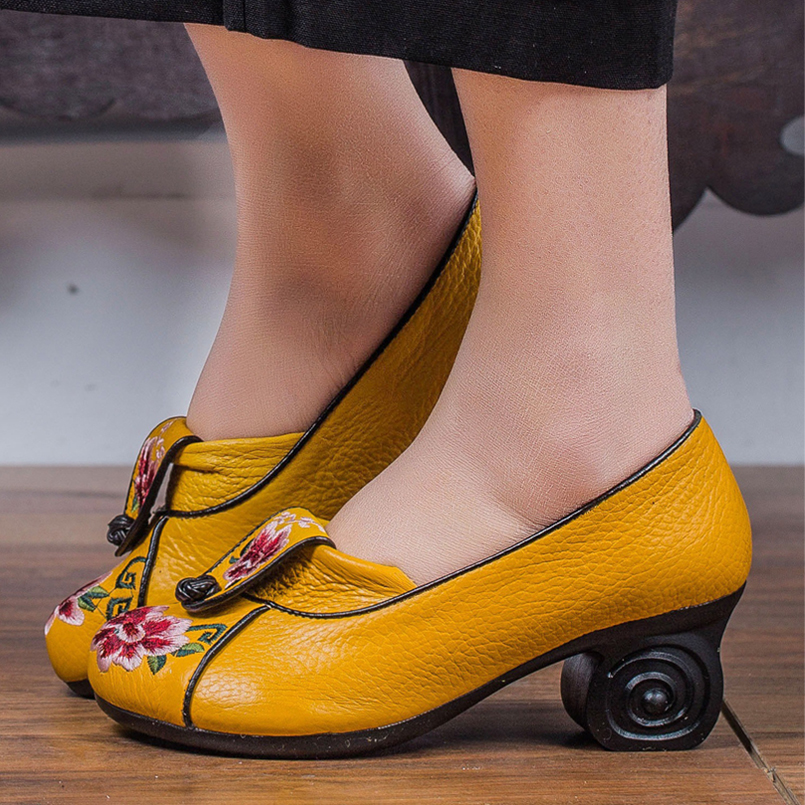 Étnico Z Otoño Las Tacón yellow Genuino Black Cuero Bordado 2018 Mujeres Alto red De Zapatos zrg10qzw