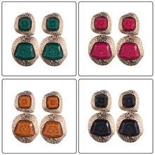 ZA серьги-капли с натуральными камнями для женщин, элегантные свадебные украшения, модные очаровательные богемные этнические большие длинные висячие серьги
