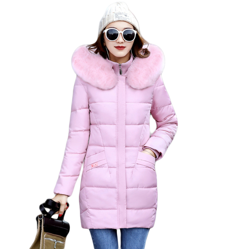 New 2017 Winter Cotton Coat Women Slim Outwear Medium-long Padded Jacket Thick Fur Hooded Wadded Warm Parkas Winterjas CM1709 2017 women winter jacket new fashion cotton padded long hooded coat parkas female wadded outwear fur collar slim warm parkas