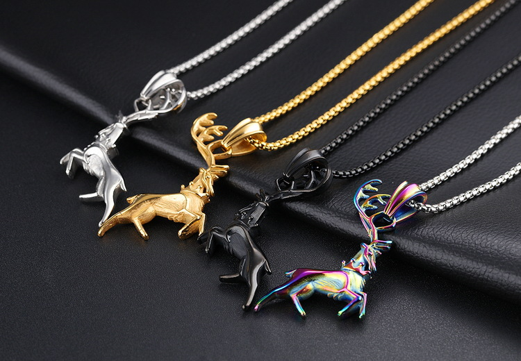 Free Package 2017 Trendy Black Silver Gold Pendant Necklace Titanium Alloy Christmas Elk Jewelry Latest Fashion Trend Gifts