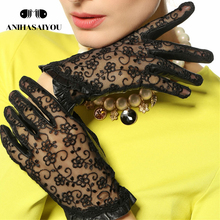 High-end spring and summer driving gloves women lace genuine leather dress Genuine Leather short touch -L095