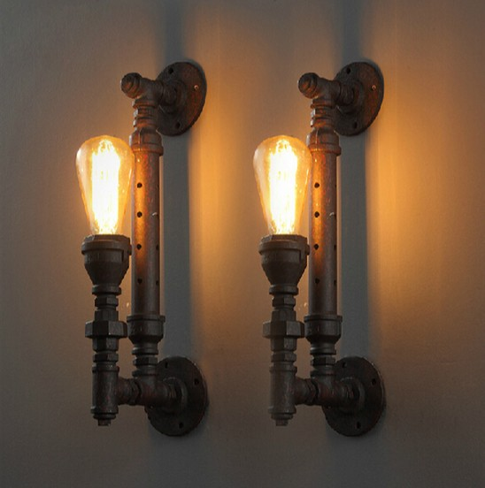 Loft Style Industrial Vintage Wall Light For Home Antique Metal Water Pipe Lamp Bedside Edison Wall Sconce Lampara Pared loft style iron edison wall sconce industrial lamp wheels vintage wall light fixtures antique indoor lighting lampara pared