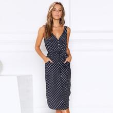 Summer Dress Sleeveless Polka Dot Button V Neck Belted Dress Women Casual Beach Dress Streetwear modis vestidos de verano D30 button embellished self belted slit dress