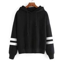 Women S Autumn Winter Warm Fleece Hooded Sweatshirt Fashion Striped Splicing Sleeve Loose Hoodies Pullover Jumper