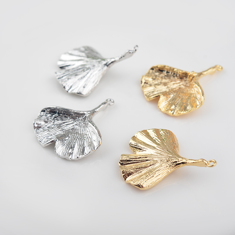 6PCS 25x30MM 24K Gold Color Plated Brass Ginkgo Leaves Charms Diy Jewelry Findings Earrings Accessories