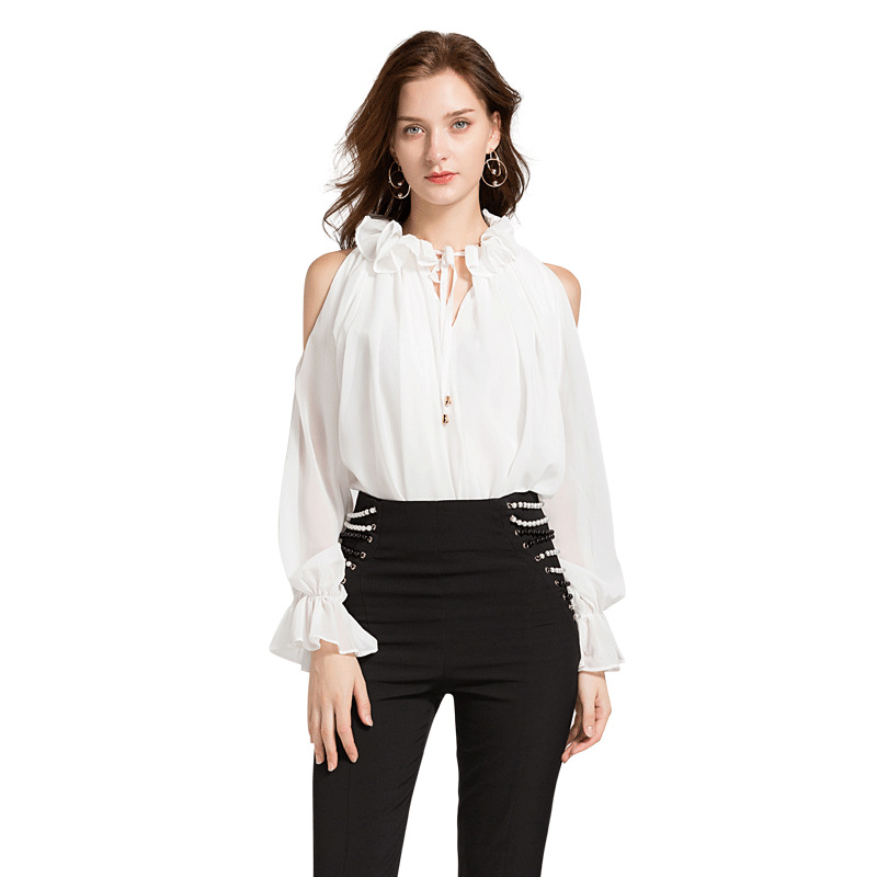 Korean Fashion Ruffled Puff Sleeve Chiffon Blouses Womens 2018 Soild White Black Elegant Ladies Office Shirts