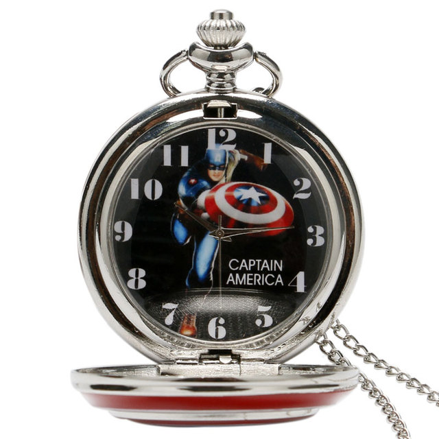Captain America Icon Quartz Pocket Watch Star Pendant Necklace Chain For Men Women Children Chirstmas Gifts Free Shipping P497