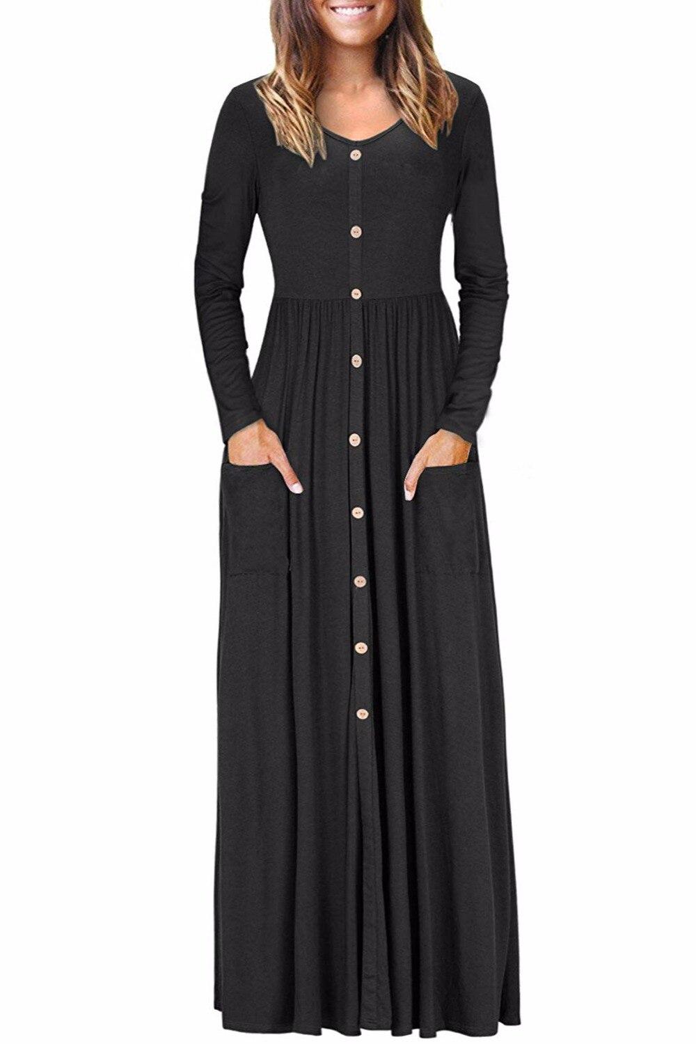 Femmes mode bouton avant élégant longue robe décontracté lâche O cou à manches longues ruché fluide Maxi robe avec poches