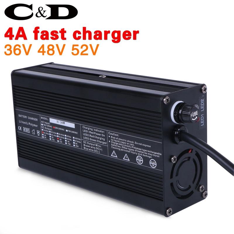 36V 48V 52V Lithium battery charger 4A fast charger 42V 54 6V 58 8V li ion