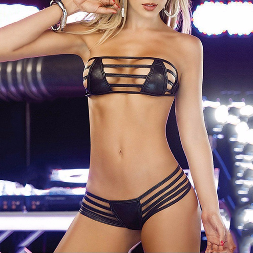 Lady Sexy Leather PU Bikini Women Hot Black Bikinis Swimsuit Babydoll Lingerie Sleepwear G-string Adjustable Back Strip Female