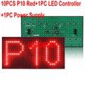 Полу-Открытый DIY СВЕТОДИОДНЫЙ Дисплей 10 ШТ. P10 Красный Цвет ПРИВЕЛО Модуль Дисплея + 1 ШТ. LED Контроллер Карты + 1 ШТ. Питания