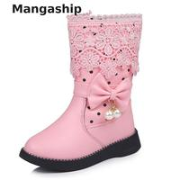 New winter Boot For Girl children's high cotton shoes bow pendant lace plus velvet to keep warm girls cotton shoes snow boots