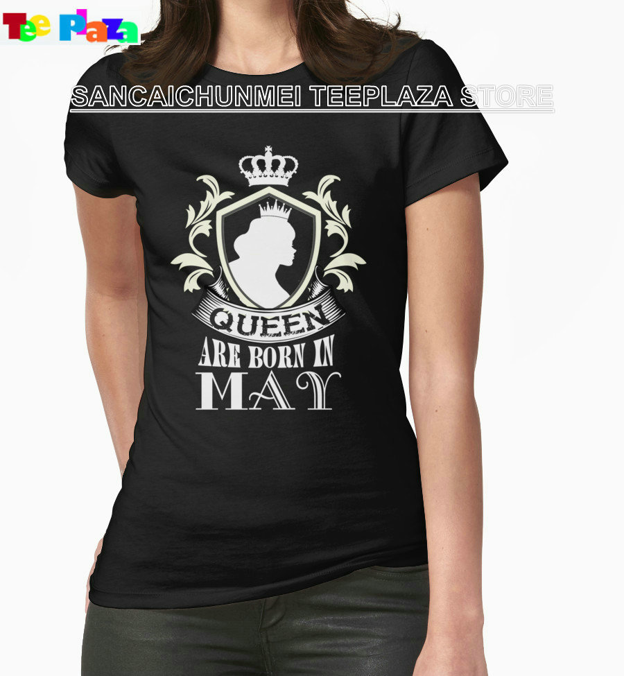 Blusa Sale Special Offer Camisetas Teeplaza T Shirt 2017 Newest Short For Queens Are Born In May Printing Machine Womens Shirts