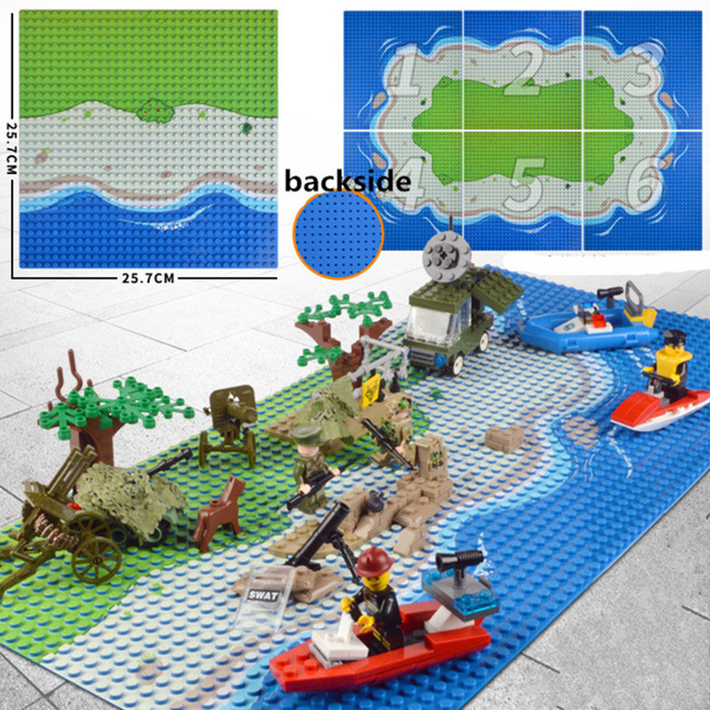 Camouflage Sea Island Baseplate 32x32 Small Dot Building Block Seabeach Base Plate 100% Compatible with Major Brands цена