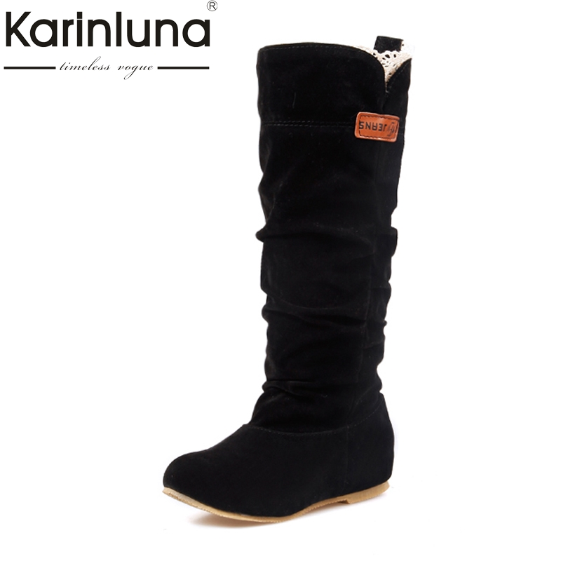 KARINLUNA Large size 34-43 Add Fur Knee Boots Fashion winter Shoes Women Lace Round Toe Platform Flat Heels Shoes Woman 2017 big size 34 43 genuine leather ethnic knee boots add fur retro thick heels embroidery high quality fall winter shoes woman