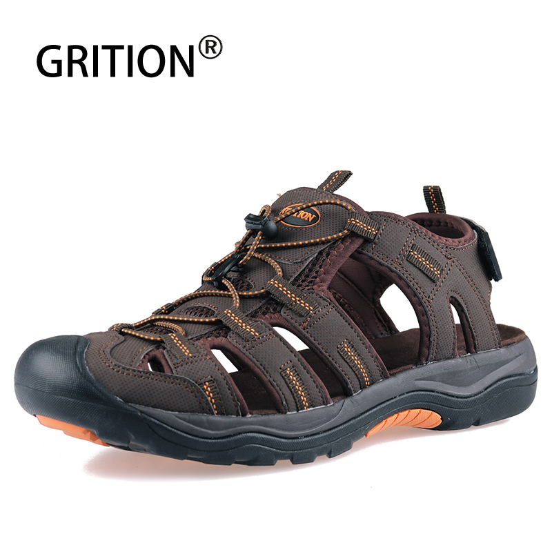 GRITION Men Sandals Summer Beach Outdoor Walking Trekking Casual Shoes Comfy Close Toe Male Nubuck Leather Sandals Big Size 2020