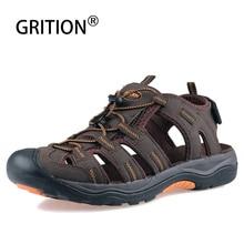Gritionメンズサンダル夏のビーチ屋外トレッキングカジュアルネイティブ靴快適な閉じる足男性ヌバックレザーサンダルビッグサイズ2020