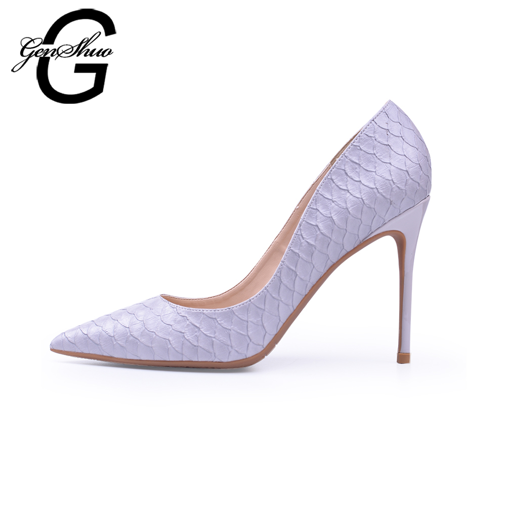 GENSHUO High Heels Shoes Women Pumps Spring Summer 2018 Red Black Grey Small Plus Big Size32 46 Basic Shoes Woman Free Shipping
